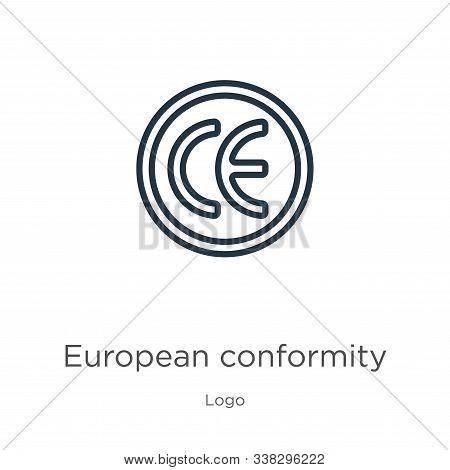European Conformity Icon. Thin Linear European Conformity Outline Icon Isolated On White Background