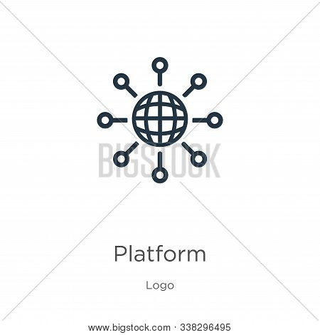 Platform Icon. Thin Linear Platform Outline Icon Isolated On White Background From Logo Collection.