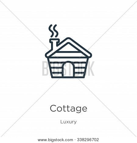 Cottage Icon. Thin Linear Cottage Outline Icon Isolated On White Background From Luxury Collection.