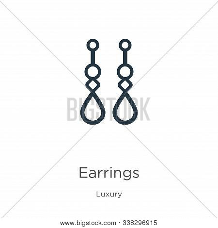 Earrings Icon. Thin Linear Earrings Outline Icon Isolated On White Background From Luxury Collection