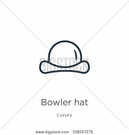 Bowler Hat Icon. Thin Linear Bowler Hat Outline Icon Isolated On White Background From Luxury Collec