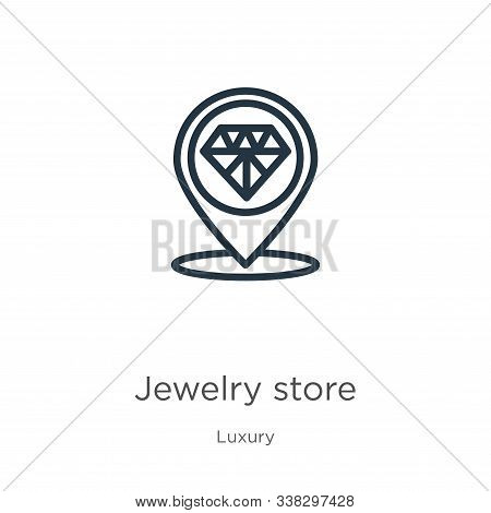 Jewelry Store Icon. Thin Linear Jewelry Store Outline Icon Isolated On White Background From Luxury