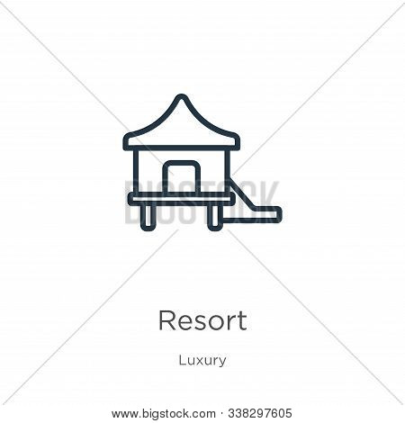 Resort Icon. Thin Linear Resort Outline Icon Isolated On White Background From Luxury Collection. Li