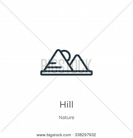 Hill Icon. Thin Linear Hill Outline Icon Isolated On White Background From Nature Collection. Line V