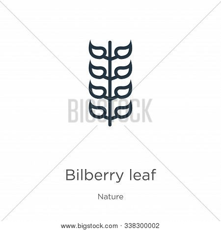 Bilberry Leaf Icon. Thin Linear Bilberry Leaf Outline Icon Isolated On White Background From Nature