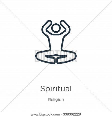 Spiritual Icon. Thin Linear Spiritual Outline Icon Isolated On White Background From Religion Collec