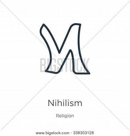 Nihilism Icon. Thin Linear Nihilism Outline Icon Isolated On White Background From Religion Collecti