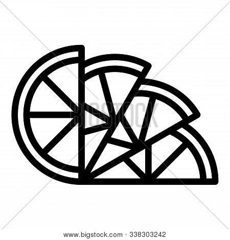 Lemon Wedges Icon. Outline Lemon Wedges Vector Icon For Web Design Isolated On White Background