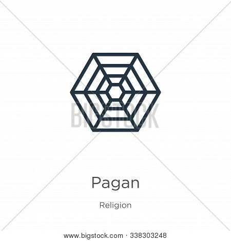 Pagan Icon. Thin Linear Pagan Outline Icon Isolated On White Background From Religion Collection. Li