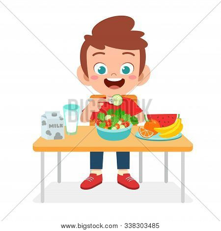 Happy Cute Kid Boy Vector Photo Free Trial Bigstock