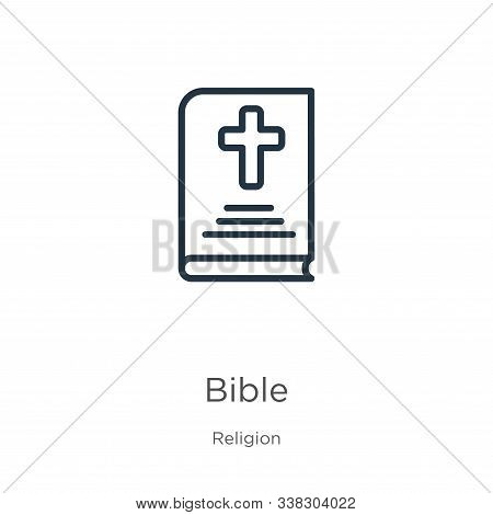 Bible Icon. Thin Linear Bible Outline Icon Isolated On White Background From Religion Collection. Li