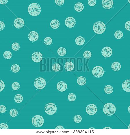 Green Music Cd Player Icon Isolated Seamless Pattern On Green Background. Portable Music Device. Vec