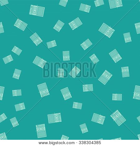 Green Music Tape Player Icon Isolated Seamless Pattern On Green Background. Portable Music Device. V