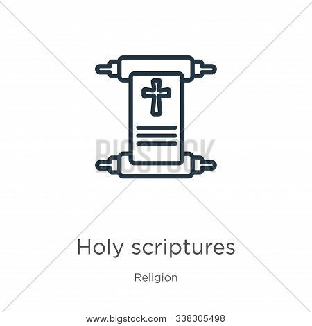 Holy Scriptures Icon. Thin Linear Holy Scriptures Outline Icon Isolated On White Background From Rel