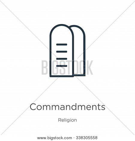 Commandments Icon. Thin Linear Commandments Outline Icon Isolated On White Background From Religion