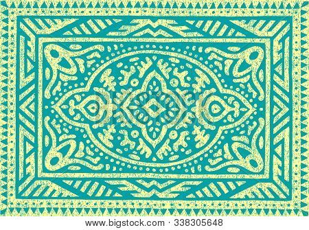 Carpet Vintage Ornament. Grunge Old Texture. Ethnic And Tribal Motifs.