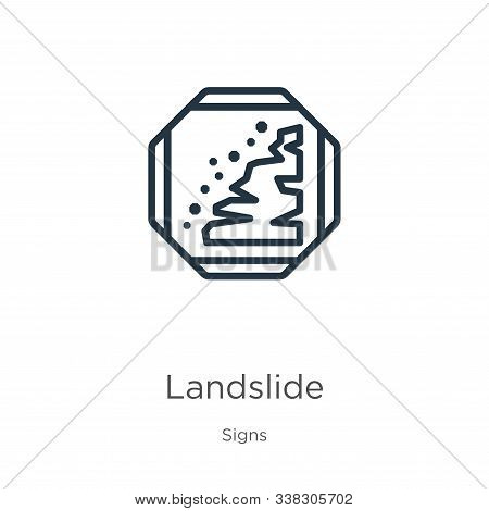 Landslide Icon. Thin Linear Landslide Outline Icon Isolated On White Background From Signs Collectio