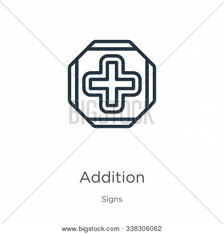 Addition Icon. Thin Linear Addition Outline Icon Isolated On White Background From Signs Collection.
