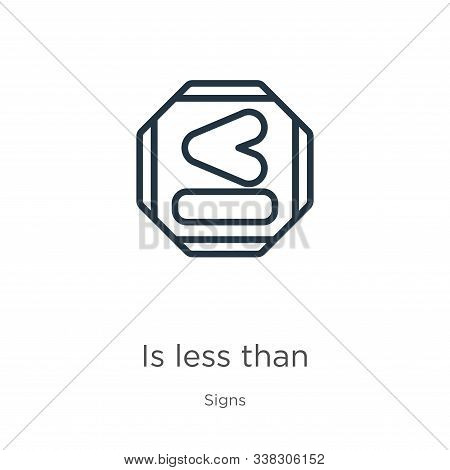 Is Less Than Icon. Thin Linear Is Less Than Outline Icon Isolated On White Background From Signs Col