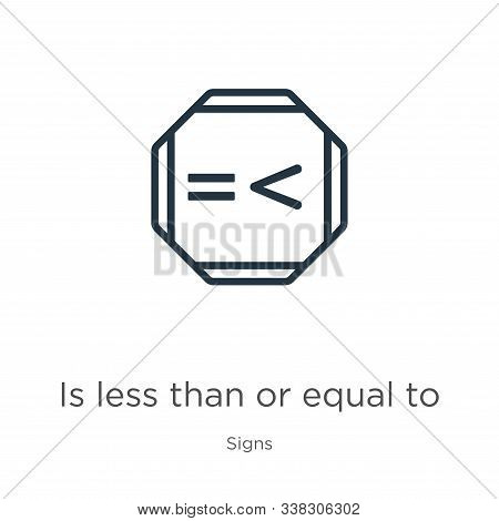 Is Less Than Or Equal To Icon. Thin Linear Is Less Than Or Equal To Outline Icon Isolated On White B