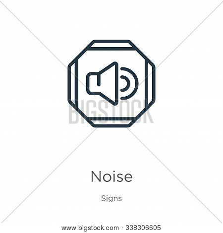 Noise Icon. Thin Linear Noise Outline Icon Isolated On White Background From Signs Collection. Line