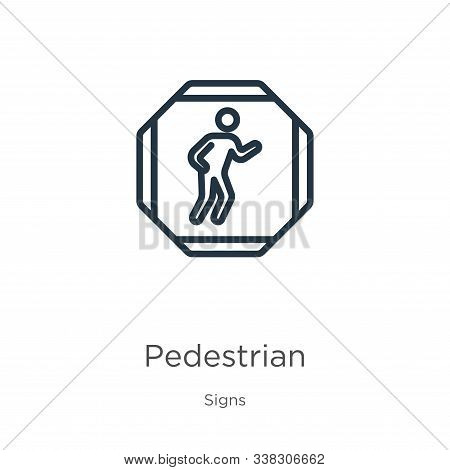 Pedestrian Icon. Thin Linear Pedestrian Outline Icon Isolated On White Background From Signs Collect