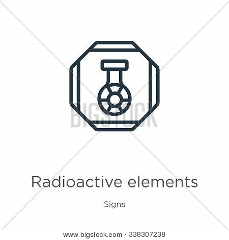 Radioactive Elements Icon. Thin Linear Radioactive Elements Outline Icon Isolated On White Backgroun