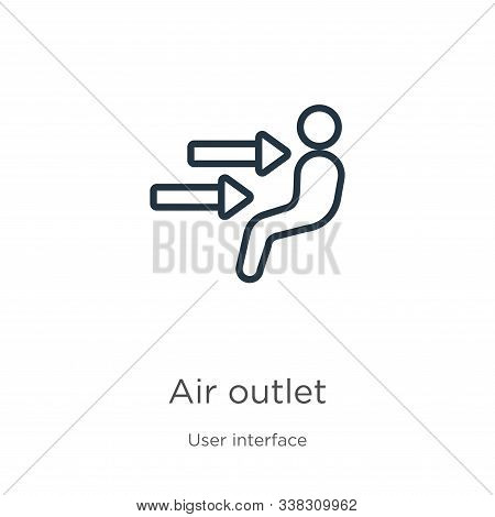 Air Outlet Icon. Thin Linear Air Outlet Outline Icon Isolated On White Background From User Interfac