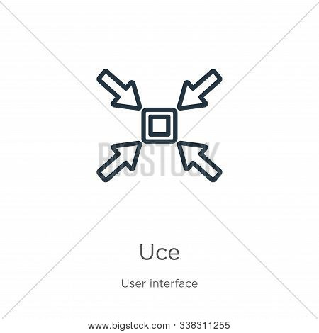Reduce Icon. Thin Linear Reduce Outline Icon Isolated On White Background From User Interface Collec