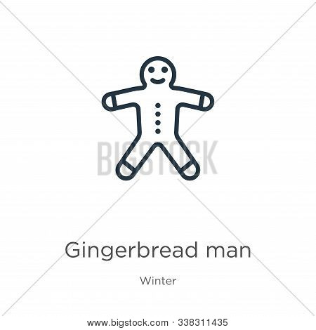 Gingerbread Man Icon. Thin Linear Gingerbread Man Outline Icon Isolated On White Background From Win