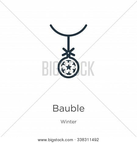 Bauble Icon. Thin Linear Bauble Outline Icon Isolated On White Background From Winter Collection. Li