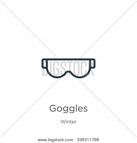 Goggles Icon. Thin Linear Goggles Outline Icon Isolated On White Background From Winter Collection.