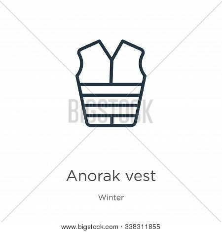 Anorak Vest Icon. Thin Linear Anorak Vest Outline Icon Isolated On White Background From Winter Coll