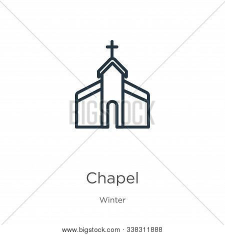 Chapel Icon. Thin Linear Chapel Outline Icon Isolated On White Background From Winter Collection. Li