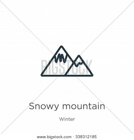 Snowy Mountain Icon. Thin Linear Snowy Mountain Outline Icon Isolated On White Background From Winte