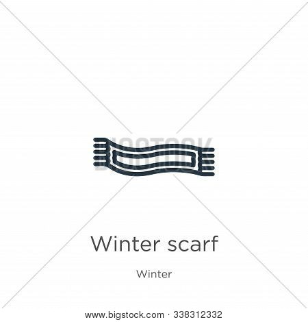Winter Scarf Icon. Thin Linear Winter Scarf Outline Icon Isolated On White Background From Winter Co