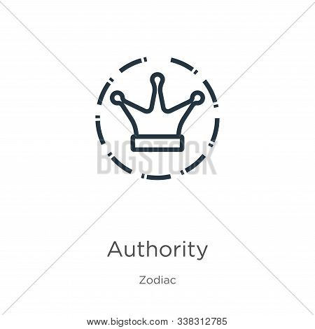 Authority Icon. Thin Linear Authority Outline Icon Isolated On White Background From Zodiac Collecti