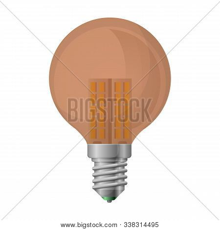Halogen Bulb Vector Icon. Realistic Vector Icon Isolated On White Background Halogen Bulb.