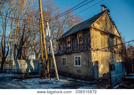Old Poor Slum House In Voronezh, Poverty Concept