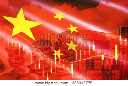 Usa And China Trade War Economy Recession Conflict Tax Business Finance Money Coins / United States
