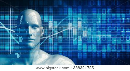 Black Business Man Using Data Analytics Technology Concept Background 3D Illustration Render