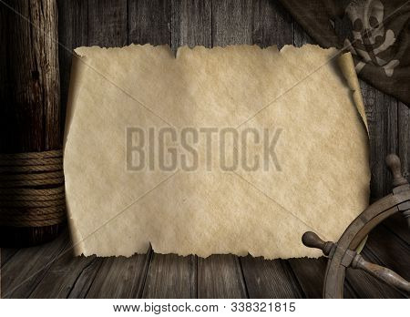 Pirates ship deck with jolly roger flag and old blank map 3d illustration