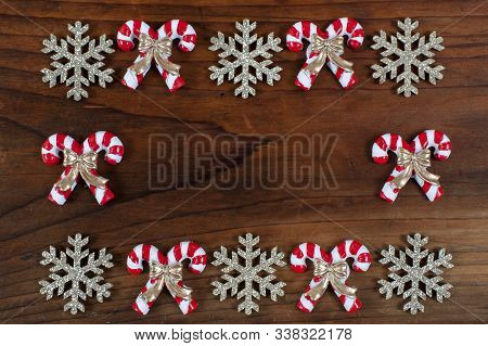 Christmas Decoration On A Wooden Background And A Writing Space. Flat, Design.