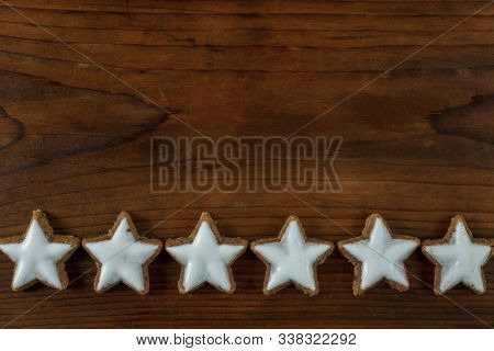Tasty  Christmas Cookies On Background, Space For Text. Top View.
