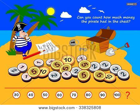 Logic Puzzle Game For Children And Adults. Can You Count How Much Money The Pirate Had In The Chest?