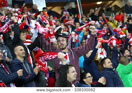 Prague, Czechia - October 23, 2019: Slavia Praha Supporters Show Their Support During The Uefa Champ