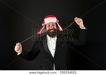Party Like Santa. Businessman Celebrate Christmas. Happy Hipster With Party Look. Bearded Man Enjoy