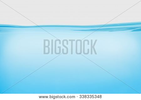 Water Splash And Air Bubbles Isolated Over White Background. Blue Water Wave Hydrate Abstract Art An