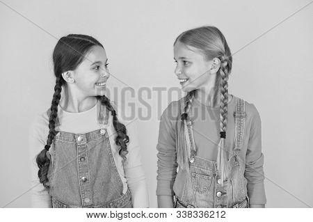 We Are Ukrainians. Ukrainian Kids. Celebrate National Holiday. Patriotism Concept. Girls With Blue A