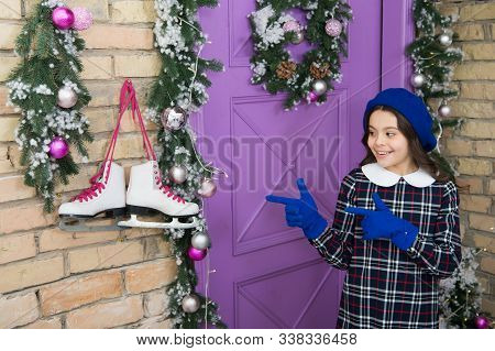 Lets Go Skating. Happy Child Point Fingers At Skates. Little Girl With Figure Skates. White Skates H